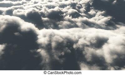 élevé, mouche, nuages, 4k