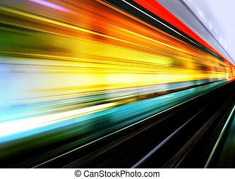 élevé, mouvement, train, vitesse, barbouillage