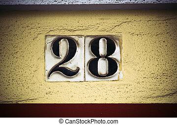 élevé, mur, vingt, plâtre, nombre, figures, huit