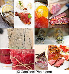 élevé, nourriture, protéine, collage, collection