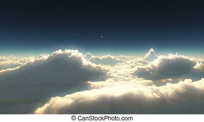 élevé, nuages, Coucher soleil