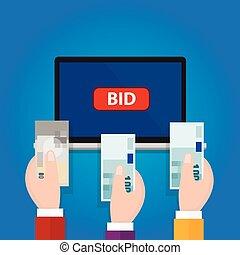 élevé, ordinateur portable, enchère, argent, offre, espèces, main, enchère, ligne, bouton