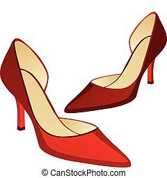 élevé, paire, chaussures, talon