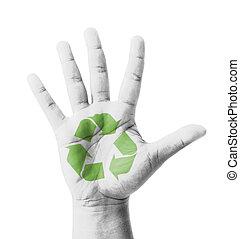 élevé, peint, signe, recycler, main ouverte
