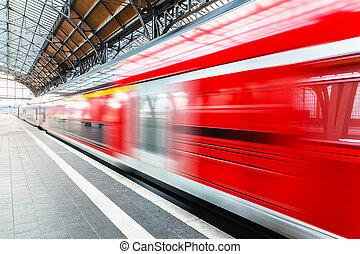 élevé, plate-forme, station, train, vitesse