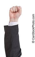 élevé, -, poing, geste, main
