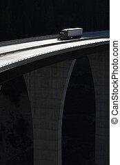 élevé, pont, camion, 10, niveau