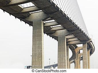 élevé, pont, manière