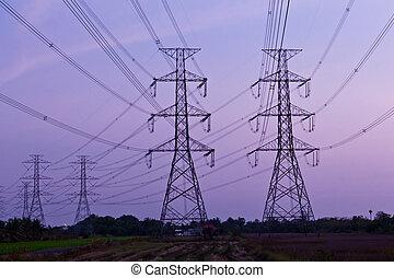 élevé, poste, pouvoir électrique, tension