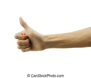 élevé, pouce, isolé, haut, main, arrière-plan., blanc, homme