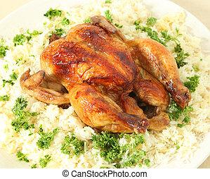 élevé, poulet, riz, angle, rôti