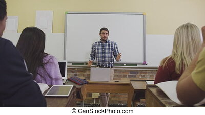 élevé, prof, classe école, conversation, sien