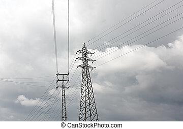 élevé, pylône, dérivation, tension