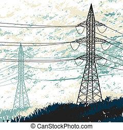 élevé, pylon., grunge, tension, illustration.