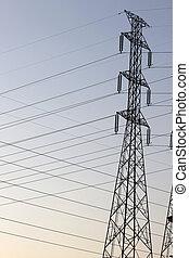 élevé, pylons., tension, puissance