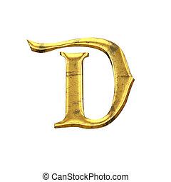 élevé, qualité, vieux, briller, lettre, d.