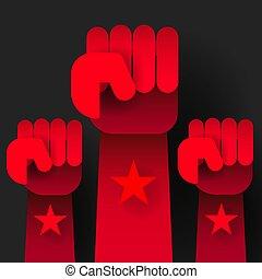 élevé, révolution, haut, illustration, sombre, arrière-plan., vecteur, mains