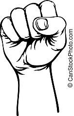 élevé, révolution, main, retro, poing, air, propagande