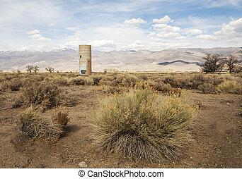 élevé, ranch, abandonnés, désert