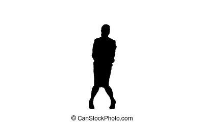 élevé, sauter, ralenti, bras, silhouette