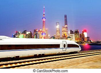 élevé, shanghai, vitesse, trains