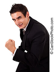 élevé, sien, énergique, très, bras, homme affaires, heureux