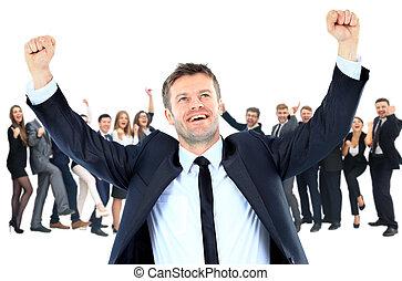 élevé, sien, énergique, très, bras, une, homme affaires, heureux