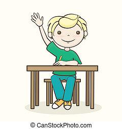 élevé, sien, étudiant, main