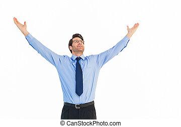 élevé, sien, applaudissement, homme affaires, bras haut