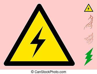 élevé, signe, triangle, tension, icône, vecteur, avertissement