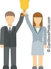 élevé,  silhouette, or,  Business, gens, haut, récompense, bras, vainqueurs, vecteur, mains, groupe, prise, excité