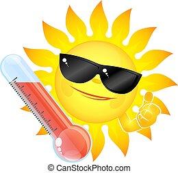 élevé, soleil thermomètre, température