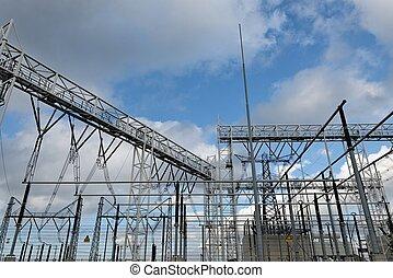 élevé, station, tension, électrique