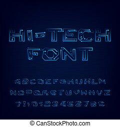 élevé, style, alphabet., high-tech, numbers., technologie, numérique, lettres, police