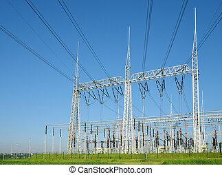 élevé, substation., tension, puissance