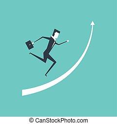 élevé, success., portée, haut, courant, flèche, homme affaires