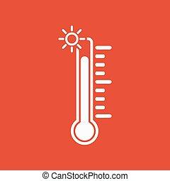 élevé, symbole, température, icon., thermomètre