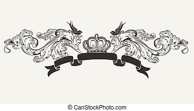 élevé, texte, royal, bannière, orné