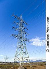 élevé, tour, tension, pylônes