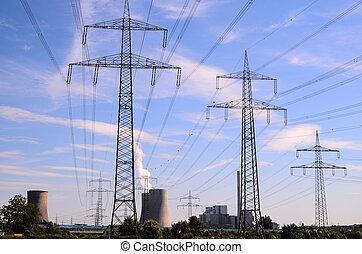 élevé, tour transmission, tension, électrique