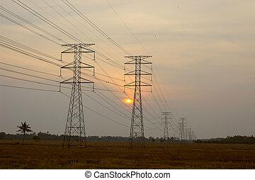 élevé, tours, électrique, tension
