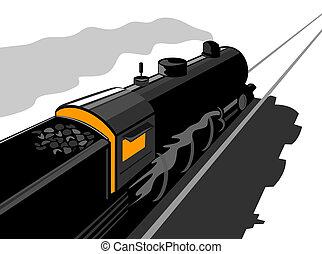élevé, train, angle, vapeur, affiché