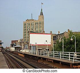 élevé, train banlieusard, dans, chicago