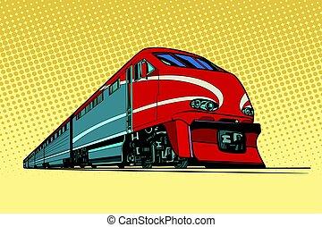 élevé, train passager, vitesse