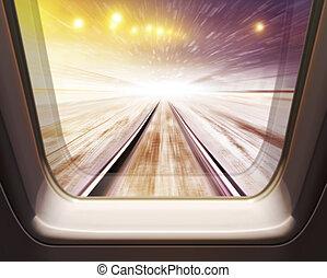 élevé, train, vitesse, hiver