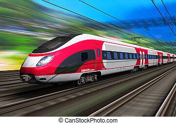 élevé, train, vitesse