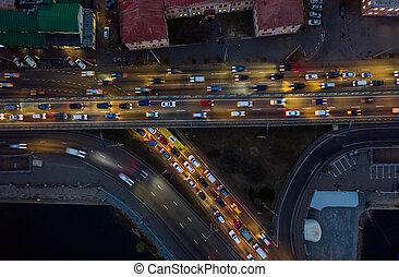 élevé, transport, levée, ponts, révèle, coup, spectaculaire, bourdon, autoroute