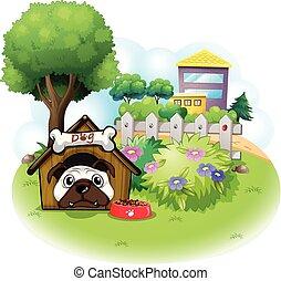 élevé, travers, bâtiments, jardin, chien