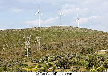 élevé, turbines, pylônes, vent, tension