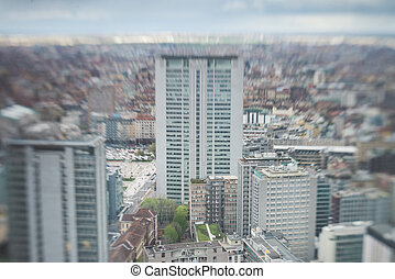 élevé, urbain, Horizon, ville, vue